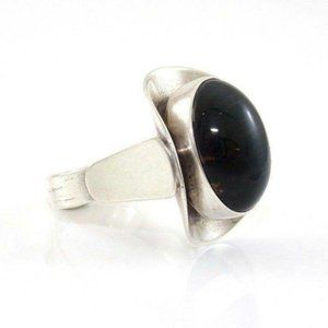 Israel Sterling Silver Gray Black Fiber Optic Ring